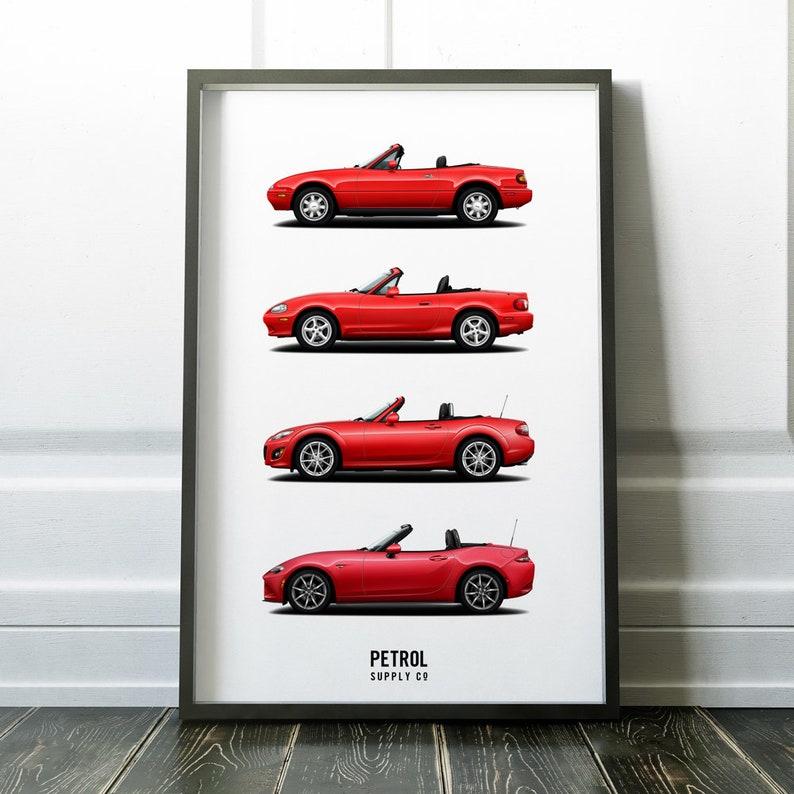 Mazda Mx 5 Miata Generations Print Miata Poster Art Car Etsy