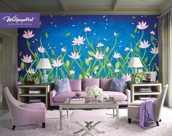 Removable Wallpaper Night Flowers,Flowers Wall Mural, Temporary Flowers Wallpaper 32