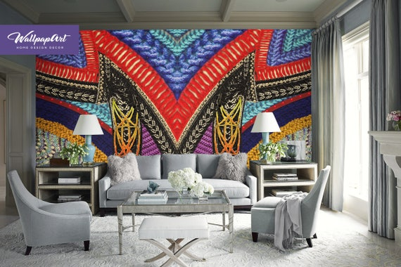 Ethnic Peel And Stick Wallpaper Boho Style Removable Etsy