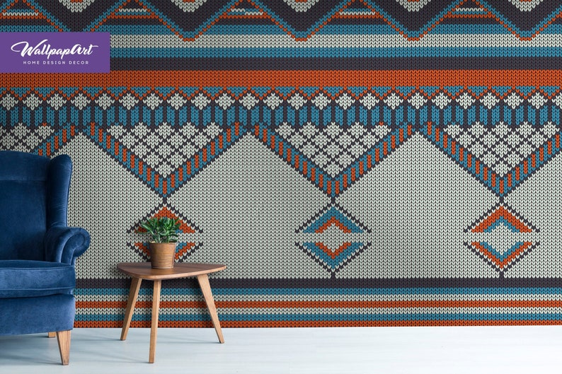 Ethnic Knitted Peel And Stick Wallpaper Removable Art Etsy