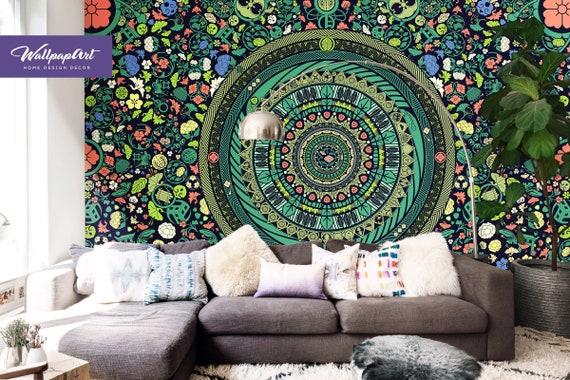 Zen Garten Abnehmbarer Wallpaper Mandala Wandbild Boho Etsy