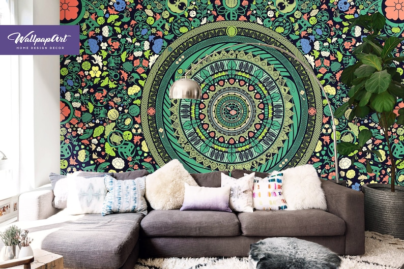 zen garden removable wallpaper mandala wall mural bohemian etsyimage 0