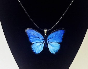 Blue Butterfly Hand Painted Wood Pendant Necklace with Cord