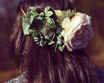 Cream Peony and Greenery Half Flower Crown