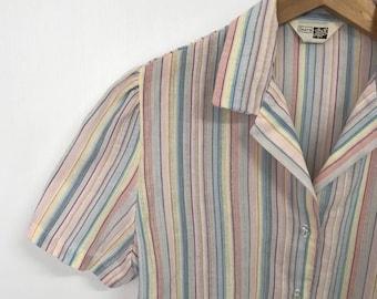 7ef6cf6c8d1 Vintage 70s Sears Rainbow Striped Blouse