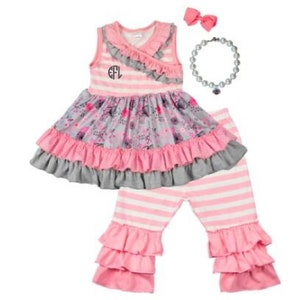 Pink Grey Ruffle Girls Outfit 15 4d8f5a6e6013