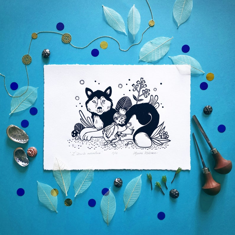 Dog The wonderful embrace . Linogravure A4 Displays Illustration Tale