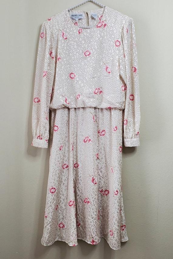 Vintage Pink Pleated Midi Skirt Sz 6 SM Andrea Gayle Petites