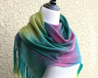 Woven scarf, merino scarf, pashmina scarf, woolen anniversary, handwoven wrap in green, yellow, fuchsia with fringe gift for her
