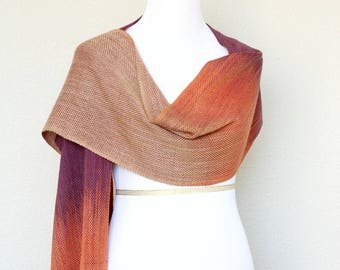 Mothers day gift, Woven wrap, pashmina wrap, event wrap in beige, orange and fuchsia, gift for her, long scarf with fringe