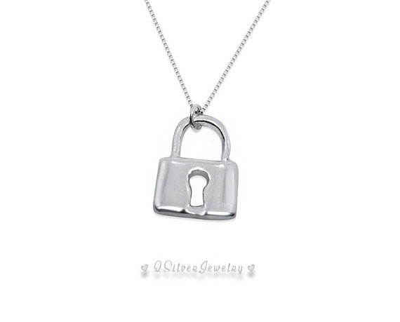 f51d46b9c9179 Sterling Silver Miniature Lock Necklace Birthday Christmas