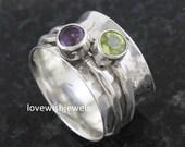 Astonishing spinner ring, Peridot Amethyst gemstones ring, Worry Ring,spinning ring, Fidget ring, Silver ring, wishing ring, silver jewelry
