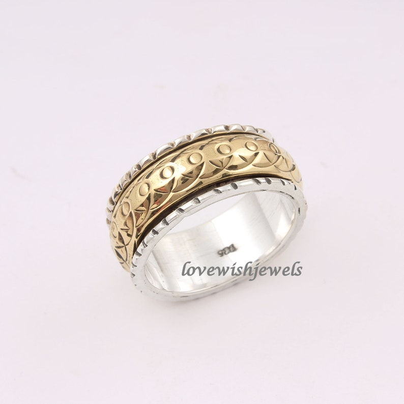 Anxiety ring silver ring Yellow spinner ring Spinning ring Vintage look meditation ring Silver jewelry Spinner band Fidget ring