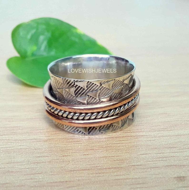 Spinner ring for Gift Meditation ring Admire ring,Spinning ring Statement thumb ring Spinner band Silver ring Fidget ring Healthy ring