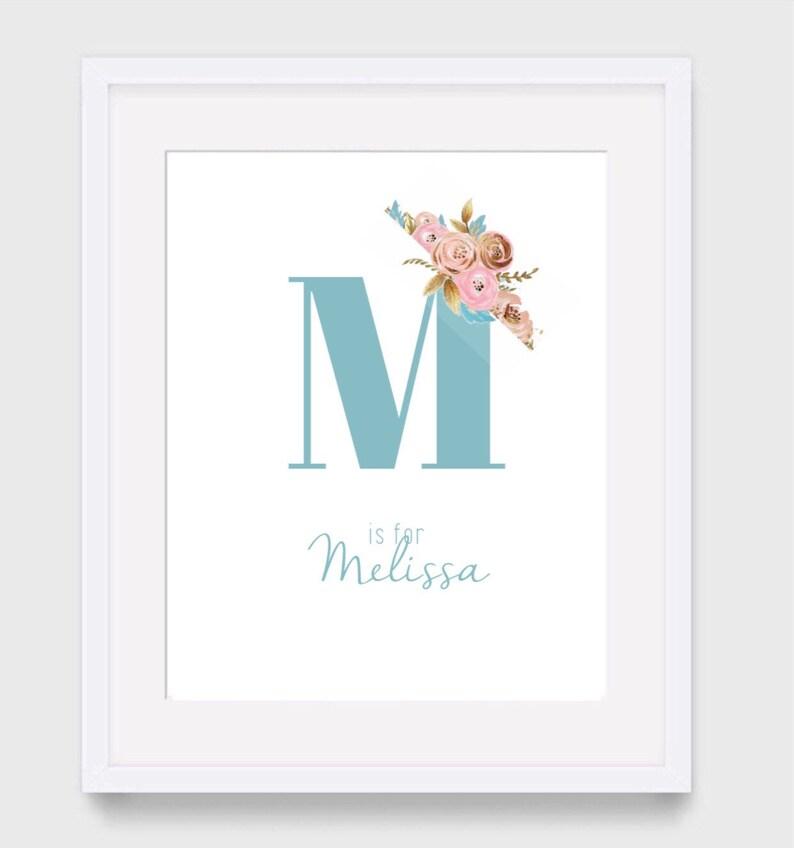 Girls Nursery Print New Baby Gift Personalised Nursery Print Monogram Print