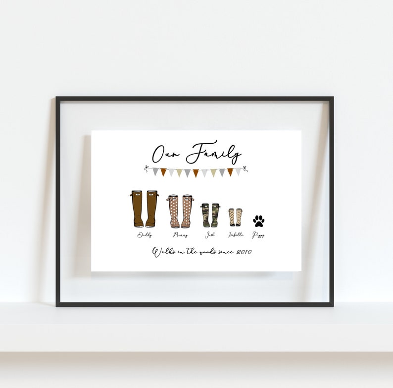 Personalised Family Names Print Personalised Family Print Christmas Gift Wellington Boot Print Welly Print Personalised Welly Print