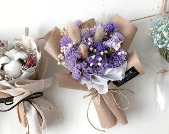 Mini Dried Statice & bunny tail grass flower Bouquet (Violet-Kraft)