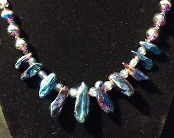 Titanium quartz bib necklace with swarovski crystal