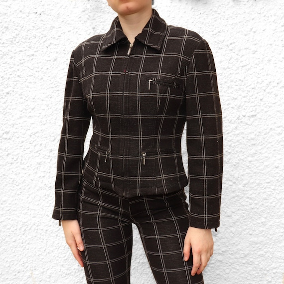 VERSACE charcoal checkered two piece set UK8