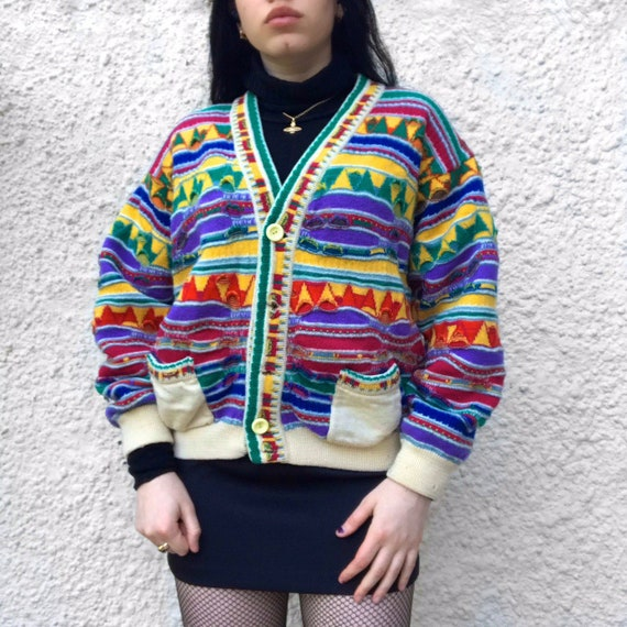 COOGI rainbow abstract pattern knitted cardigan si