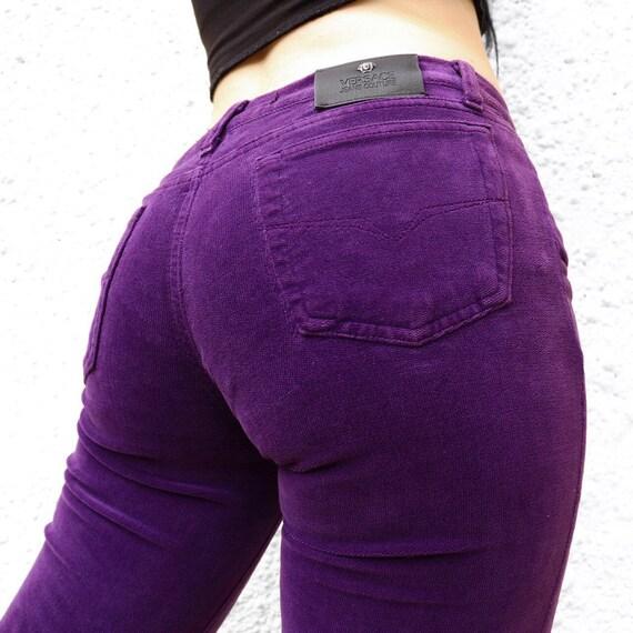 VERSACE purple velvet jeans UK8