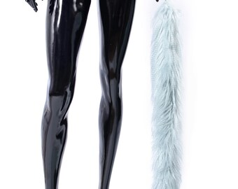 f3325fc64d6 Customized Blue lama fake fur tail butt plug Engraved anal decoration bdsm  toys for pet play