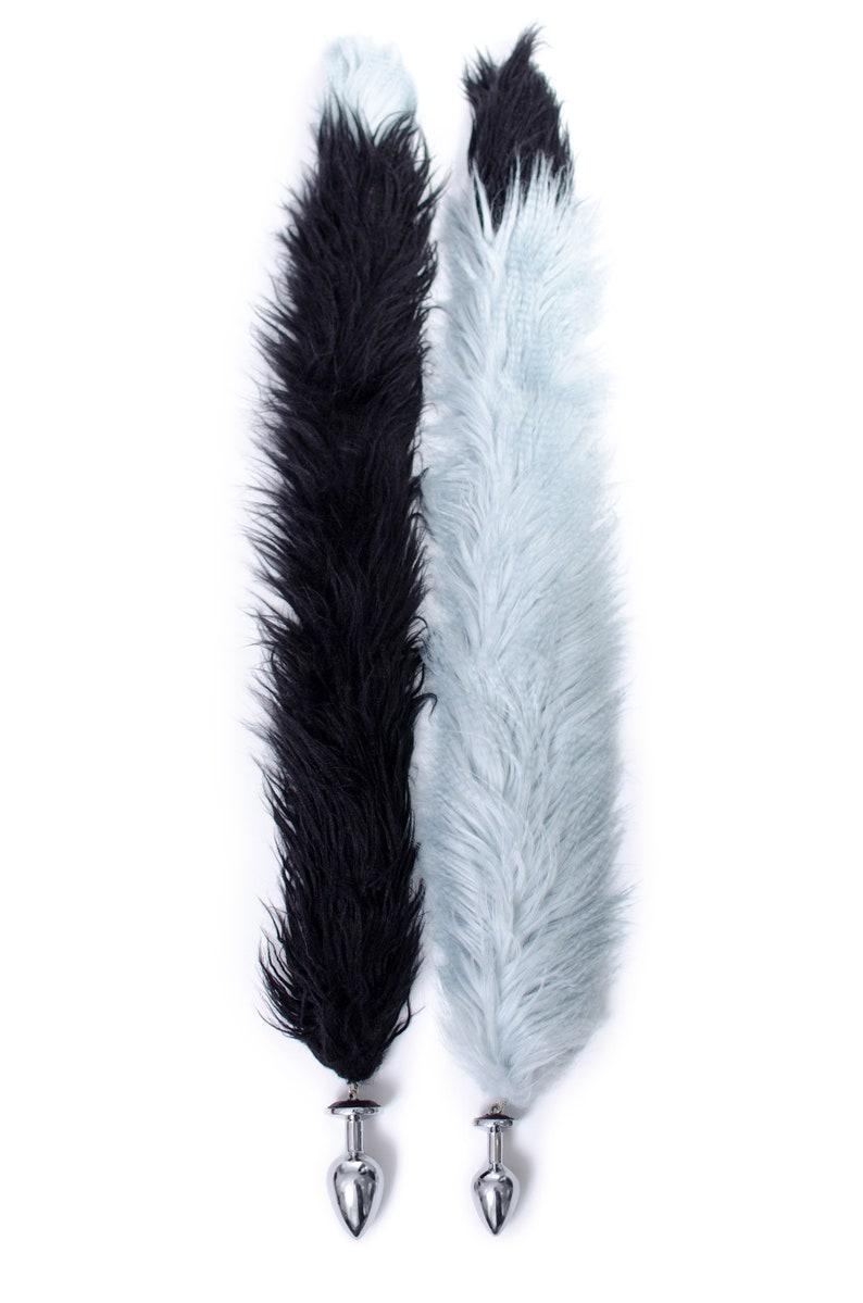 832dbc26654 Customized Long black fake fur tail Engraved butt plug anal