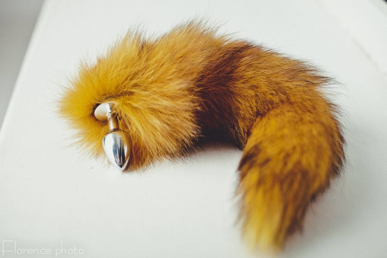 fed375bdc63 Engraved Orange fox tail butt plug Customized butt plug bdsm