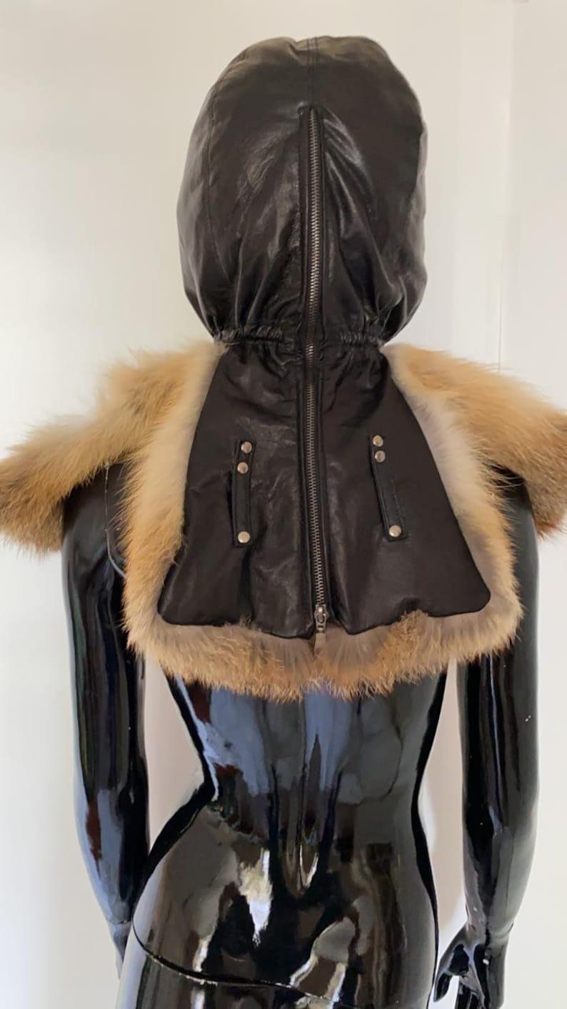 Fur Bondage isolation hood Custom Face Mask Leather Fetish
