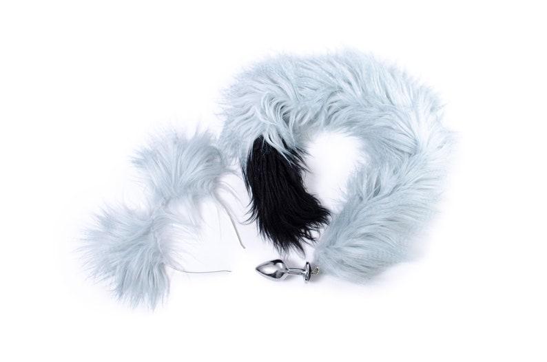 309a43f8033 Custom Blue faux fur tail butt plug Cat Ears Butt plug Sex