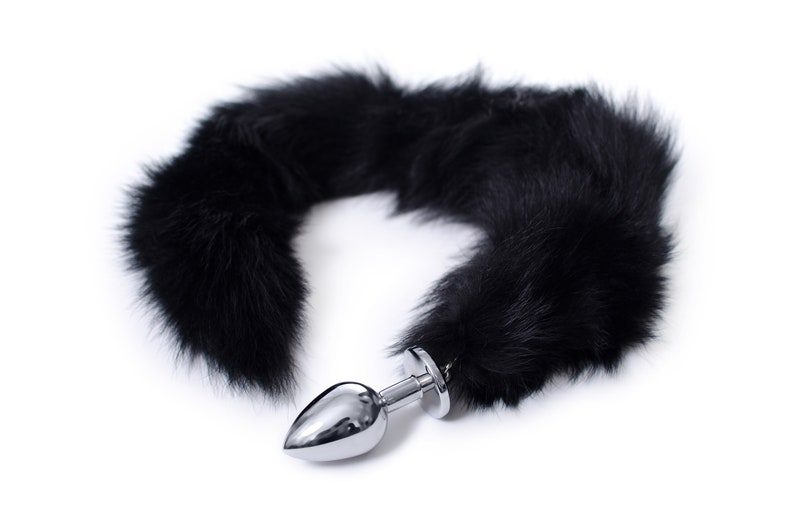 33864f07588 Engraved LONG 28 tail Black Real fur engraved fox tail
