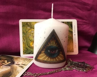 All Seeing Eye Altar Ornament Candle Eye of Providence Witchcraft Pagan Christian Witch Spiritual