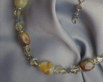 Neutral color Quartz and Citrine Princess length necklace