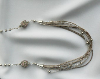 Decorative custom glass and pearl beaded opera necklace