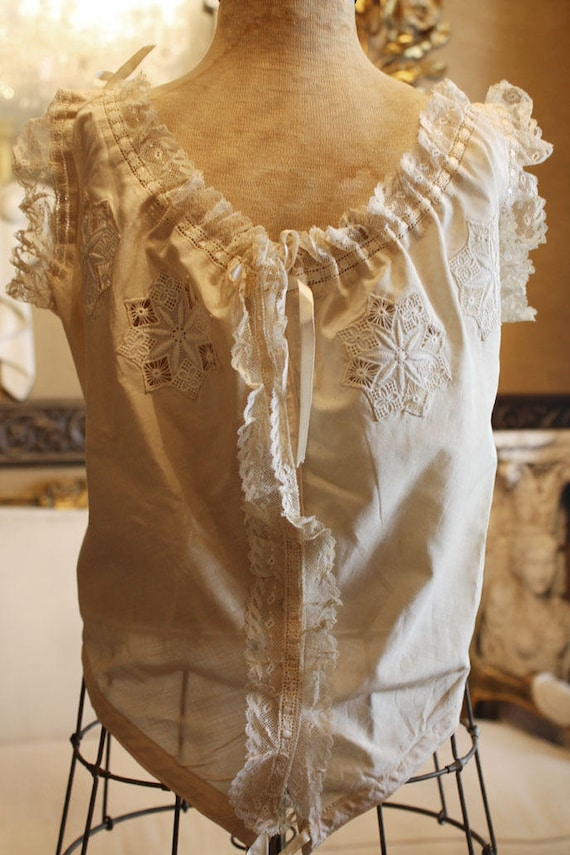 Lovely French Antique Lingerie Camisole Handmade … - image 2