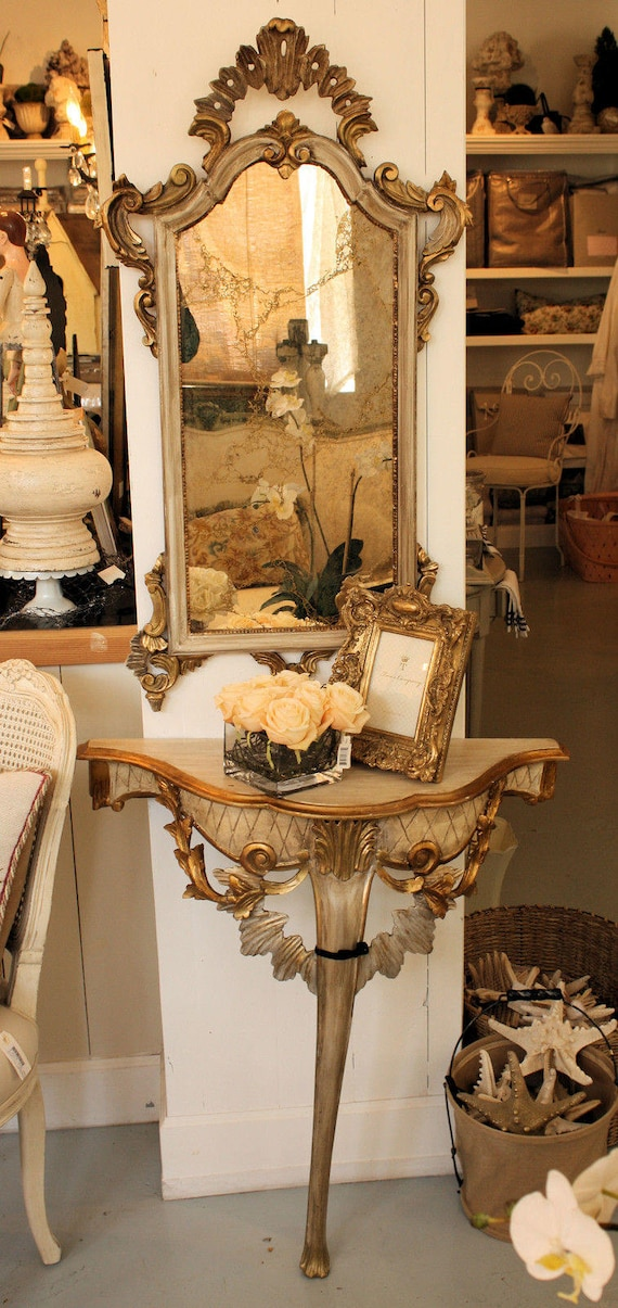 Italian Carved Demi Lune Table and Mirror ANTIQUE