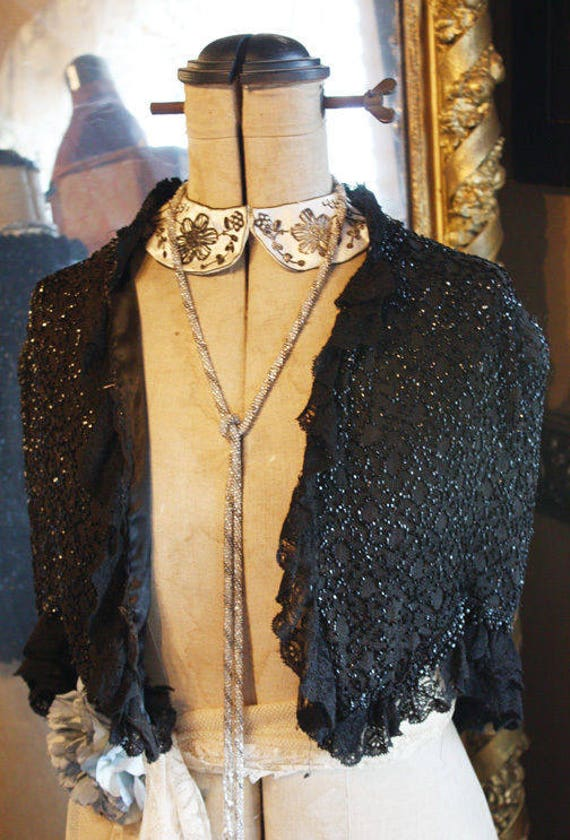 Black Silk Beaded French Victorian Shawl Great Dre