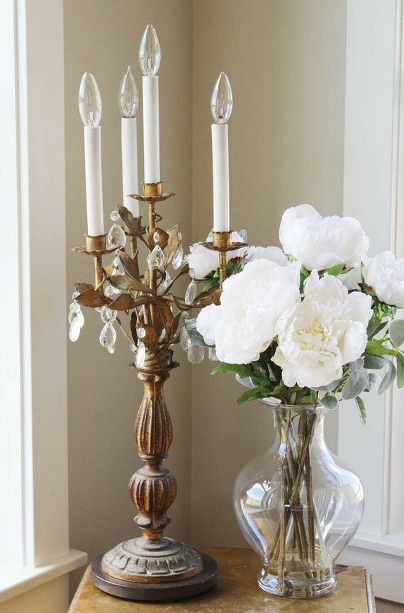 French Tole Antique Girandole Table Chandelier Can