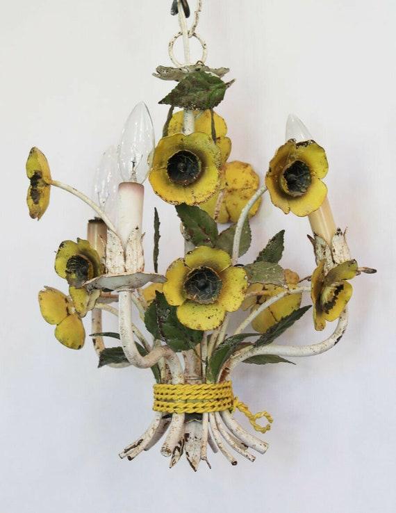Italian Tole Yellow Poppies Antique Chandelier