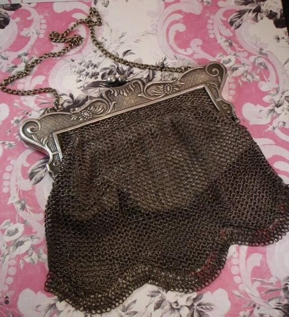ANTIQUE GUNMETAL Mesh CHAIN purse 1920s