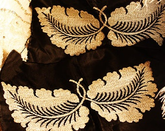 French Early 1900s Embroidered Metallic Wings