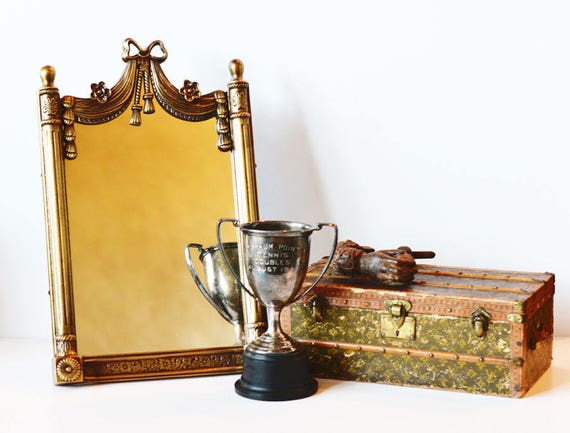 French Brass Ribbons and Bow Table Mirror
