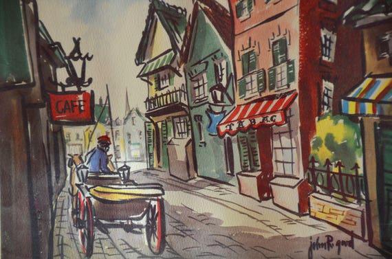 Pair John R Good 1940s Paris Art WaterColor Print… - image 1