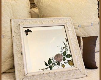 Antique Carved Wood Framed Mirror Underglass Etching