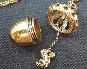 Vintage 80's Golden Acorn and Squirrel Pendant Necklace