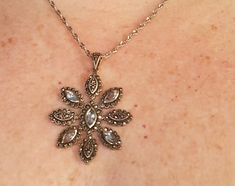 Vintage Sterling Silver, Marcasite and Blue Topaz 8 Point Flower Necklace