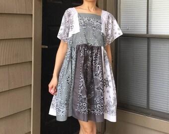 Handmade Bandana Dress In Beige