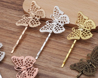 ladies//  Kb NEW Gold gilt filigree butterfly barrette hair clip spring release