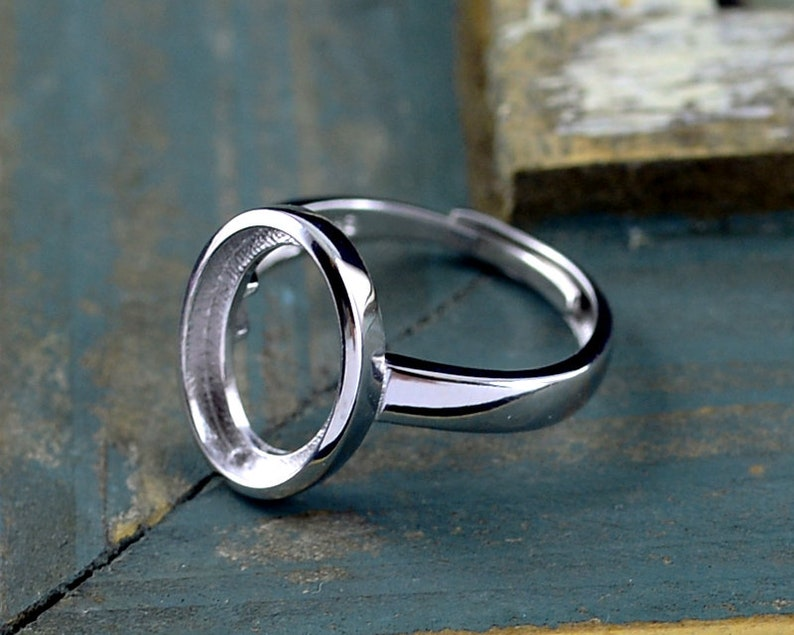 8x11mm  10x14mm 10x16mm Oval Blank Adjustable Sterling Silver Ring Blank Long-Lasting White Gold Plated 925 Silver Ring Base