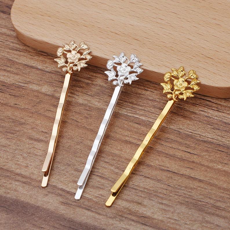 On Sale-20pcs Blank Flower Hair Pins,brass Hair Clip,Blank Hair Clip Barrette,Hair pin Blank with 14mm Flower Pad Bobby Pins Hair Clips,5080